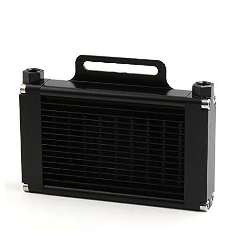 sourcingmap® Alliage aluminium noir 9mm Filetage 14 lignes refroidisseur huile moteur Moto radiateur