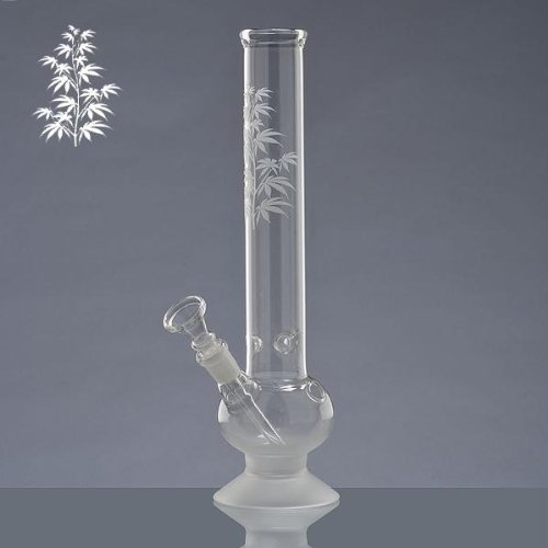 glas-bong-tabakpfeife-mit-eis-eisbong-kleiner-kugel-und-sandgestrahlter-pflanze-30cm-hoch-40mm-oe-un
