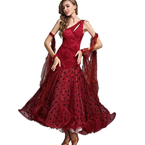 Kostüm Swing Wettbewerbs Tanz - HAOBAO Rückenfreies modernes Walzer-Tango-Kostüm Glatte Nationale Norm Ballsaal-Tanz-Kleid Wettbewerb Dance Outfit Ärmellos Wellenpunkt Swing, XXL
