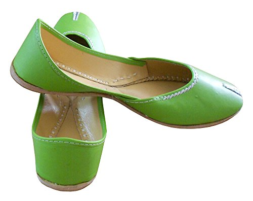 KALRA Creations Traditionelle indische Leder Damen Ballerinas Grün