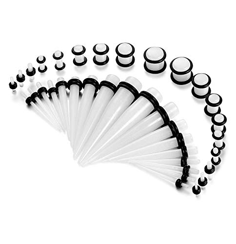 BE STEEL 14G-00G 54Pcs Acryl Ohr Dehnung Kit Set Piercing Taper und Plugs Spiral Taper Tunnel Ohr Knochenstab Dehnungsset Dehnstab Piercing (Piercing Kit Body 14g)