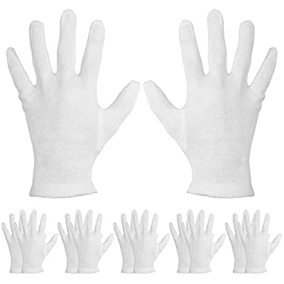 Mudder 6 Pairs Moisturizing Gloves Cotton Cosmetic Moisturizing Gloves Hand Spa Gloves Moisture Enhancing Gloves, White