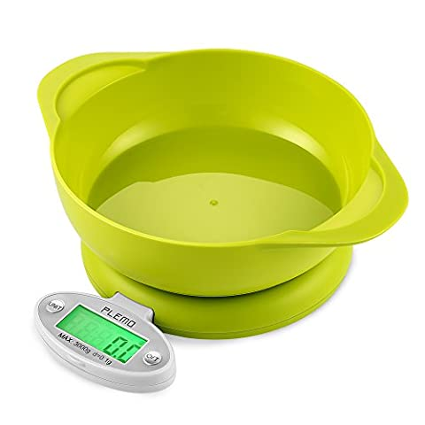 Digital Kitchen Scale, PLEMO Mini Foldable Food Weighing Scales for Cooking with Tare Function, Large LCD Display and Unit Conversions, Green