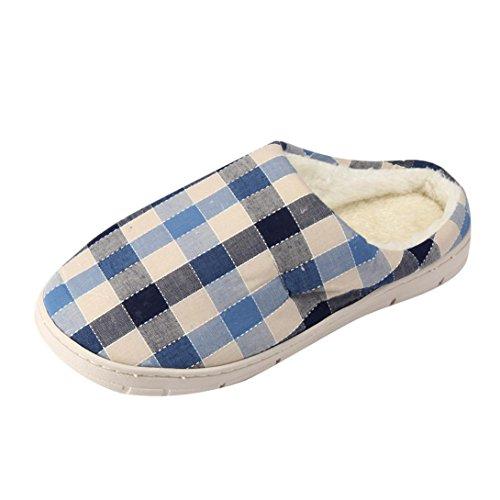 BZLine® Herren Plaid Hausschuhe weibliche Baumwolle Schuhe Paar Schuhe Blau