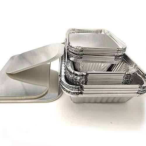 Amaoma 30 Piezas Desechables Papel de Aluminio para Horno,Caja Desechable de Papel Aluminio con Tapas...