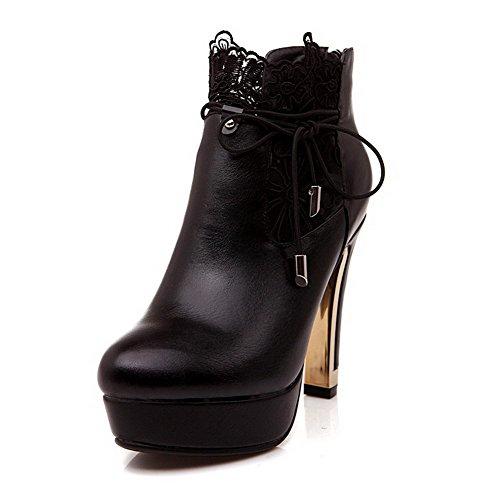 VogueZone009 Damen Blend-Materialien Niedrig-Spitze Rein Ziehen auf Hoher Absatz Stiefel, Schwarz, 38