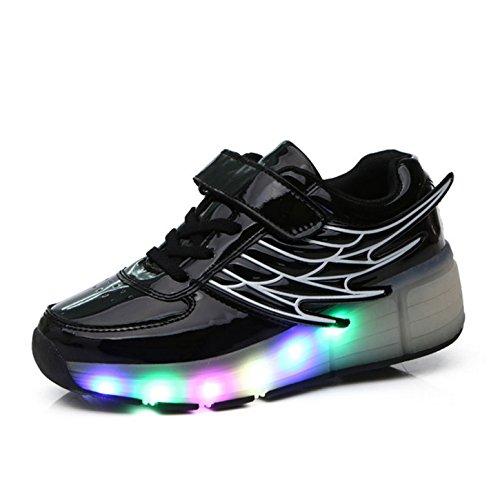 Kinder Schuhe mit Rollen Skateboardschuhe mit Rollen Roller Skate Schuhe Skateboard Schuhe Sneakers Turschuhe Laufschuhe Sportschuhe mit Rollen für Mädchen Jungen Schwarz 37