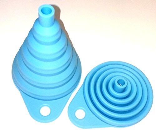 Silikon Falttrichter blau 1 Trichter der Kleine ist 8cm flexibel und platzsparend verstaubar für Küche & Heimwerken (Blau) - 4