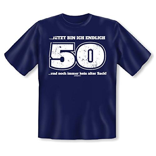 witziges und tolles 50. Geburtstags t-shirt Farbe: navy-blau, JETZT BIN ICH ENDLICH 50 ....und noch immer kein alter. Navy-Blau