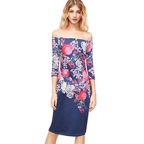 Malloom® Minikleid Damen Frauen Sommer Boho Polyester weg vom Schulter-Blumendruck-Kleid Blau
