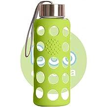 Irisana BBO Botella Borosilicato con Funda de Silicona, Verde, 300 ml