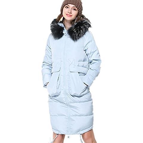 XYXY Las mujeres de largo con capucha abajo Parka abrigo . blue . m