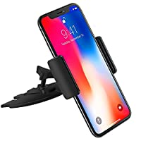 Ipow Quick Installation CD Slot Car Cradle Phone Holder with Soft Rubber Clamp for iPhone X/ iPhone 8 (Plus)/iPhone 7(Plus)/iPhone 6s(Plus)/5s/Samsung Galaxy/Note, Black