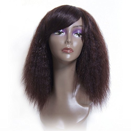 remeehi brasilianisches Echthaar Hair Pferdeschwanz Lace Perücken natürlich aussehende Italienisches Yaki gerade Full Lace Perücke mit gerade Seite Pony natürlicher Haaransatz 130% Dichte (Seite Pony Mit Pferdeschwanz)