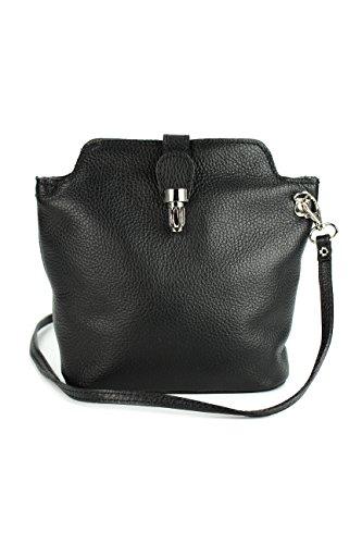 Belli kleine edle ital. Leder Handtasche Umhängetasche Farbauswahl - 18x20x8 cm (B x H x T) (schwarz) (Handtasche Italienische Schwarze Leder)