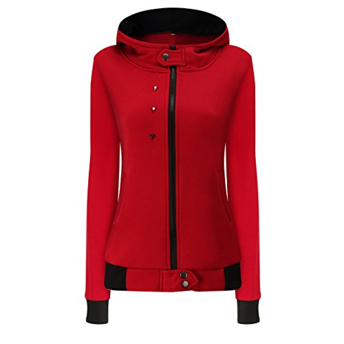 Damen Kapuzenpullover,FRIENDGG Mädchen Herbst Winter Samt Warme Langarm Mantel Mode Caual Täglichen Solide Elegante Hoody Jacke Outwear Mantel Parka Sweatshirt Pullover (Rot, S)