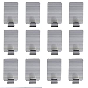 AOMEES Edelstahl Selbstklebende Haken Super Power Heavy Duty Wandhalterung Kleiderhaken Wasserdicht für Küche Badezimmer (12 Stücke Einzelhaken)