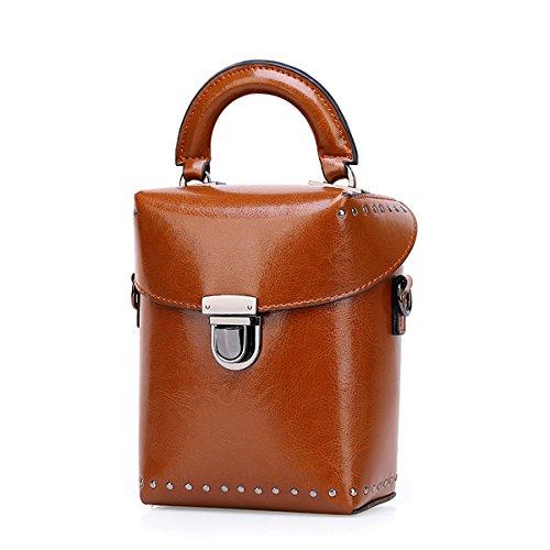 Dissa Q0860 Damen Leder Handtaschen Satchel Tote Taschen Schultertaschen Braun
