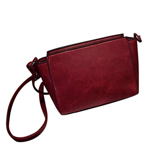 Koly_cuoio donne spalla Bauletto retro borsa Messenger Bag (Rosso)