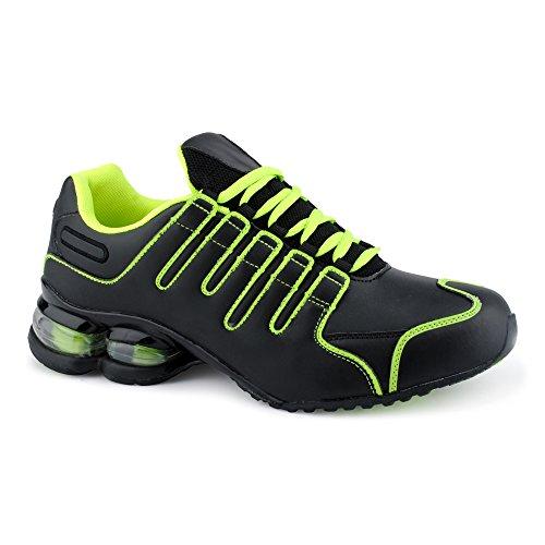 Fusskleidung Herren Damen Sneaker Sportschuhe Lauf Freizeit Neon Runners Fitness Low Unisex Schuhe Schwarz/Grün-M