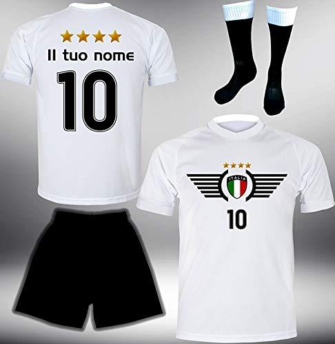 ElevenSports Italien Trikot Set 2018 mit Hose GRATIS Wunschname + Nummer im EM WM Weiss Typ #IT3th - Geschenke für Kinder Erw. Jungen Baby Fußball T-Shirt Bedrucken Italia