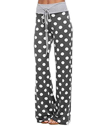 YuanDian Mujer Casual Cordón Impresión Cintura Baja Yoga Amplios Pantalones Palazos Moda Dama...