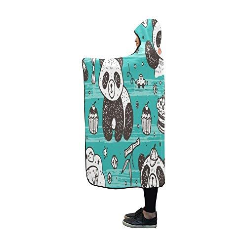 JOCHUAN Decke mit Kapuze Cute Baby Pandas Blanket 60 x 50 Zoll Comfotable Hooded Throw Wrap -