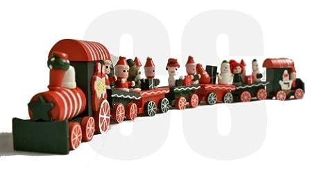 40 CM dekorativer grüner und roter festlicher hölzerner Zug mit Wagen, die kleine Schneemänner und (Weihnachten Sankt Bären)