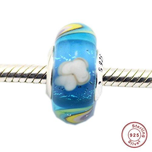CHICBUY 2018 - Cuenta de cristal de Murano con forma de arcoíris y primavera, plata de ley 925, compatible con pulseras Pandora originales