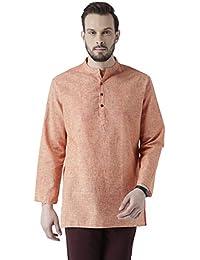 Vivids India Men's Cotton Linen Orange Kurta - G-213
