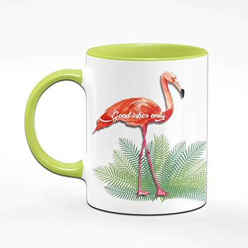 Tassenbrennerei Flamingo Tasse mit Spruch Good Vibes only - Bürotasse, Geschenk für Kollegin Tassen mit Sprüchen (Grün) - 2