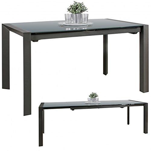 Esszimmertisch Noble 136-236 cm ausziehbar dunkelgrau Metall/Glas | Tisch für Esszimmer rechteckig | Küchentisch 6-10 Personen | Design Esstisch