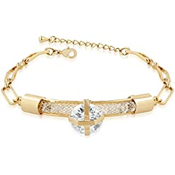 Vk Jewels Eye Cathy Gold Brass Alloy Cz American Diamond Bracelet for Women Vkbr2120G