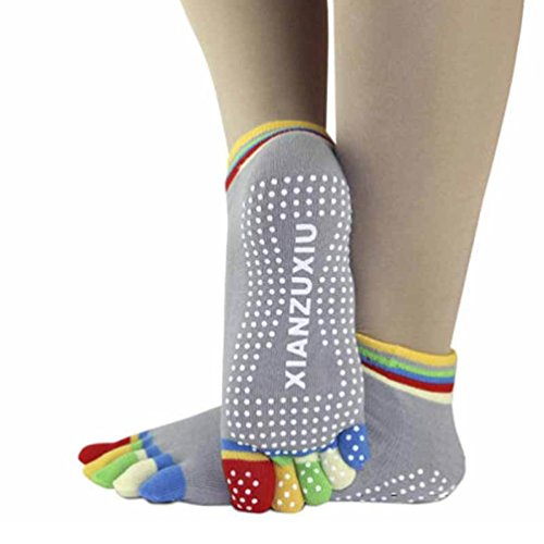 sportmaking-high-quality-store-womens-5-toe-socks-yoga-gym-non-slip-massage-full-grip-socks-gray