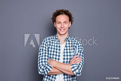 druck-shop24 Wunschmotiv: Cheerful Nice Attractive Handsome Young Man with Wavy Hair in ca #222144642 - Bild als Klebe-Folie - 3:2-60 x 40 cm / 40 x 60 cm