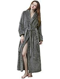 c2fb060a9b Womens Soft Plush Bathrobe Winter Fleece Dressing Gown Fluffy Bath Robe  Housecoat Full Long