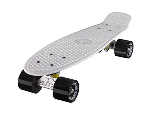 """Ridge 22"""" Mini Cruiser Skateboard Board in weiß mit 12 Rollenvarianten, komplett, in der EU hergestellt, 59mm 78A Rollen, ABEC-7 Lager"""