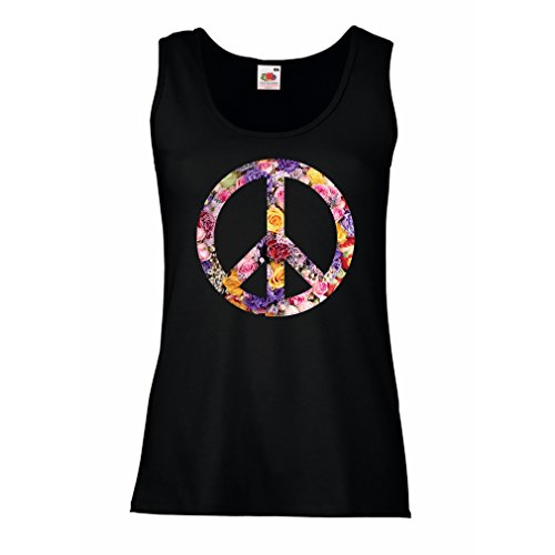 lepni.me Womens Tank Tops Peace Symbol, 1960s 1970s Hippy Hippie Festival, Peace Sign Flower Summer Hipster SWAG