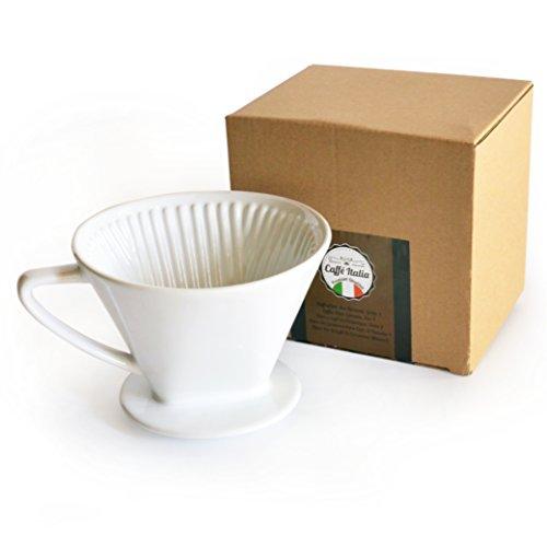 Permanent-Kaffee-Filter Caffé Italia - exzellenter aromareicher Kaffeegeschmack - Handfilter Kaffeefilter-Aufsatz Keramik - Größe 4 für 2-4 Tassen - weiß - Premium-Qualität