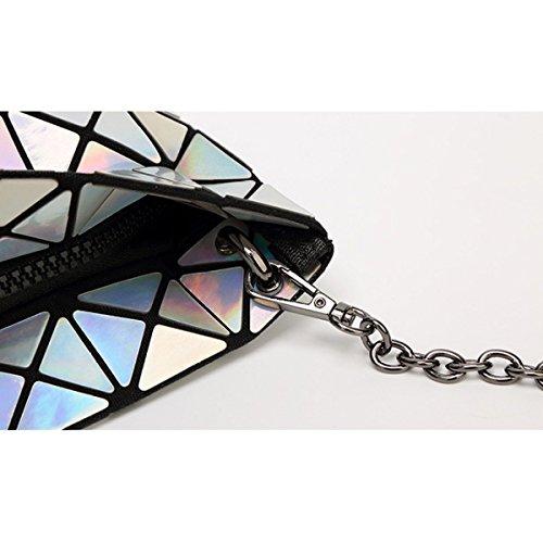 Damen Geometrischer Laser Falt Umhängetasche Hand Silver