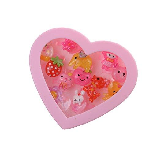 Caja de Joyería Forma de Corazón Anillos Plásticos Rosada Chica Presente Niños...