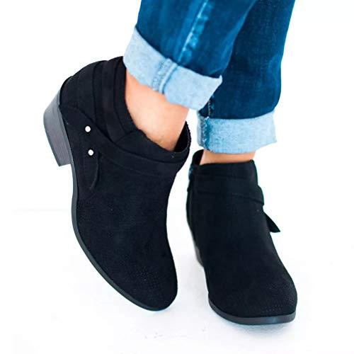 Damen Stiefelette Ankle Boots Herbst Winter Retro Sexy Mode Casual Elegant Dicke Absatz High Heels Frauen Stiefel 35-43