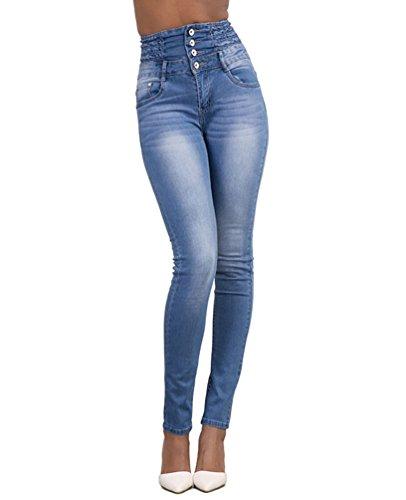 Dooxi donna casuale skinny matita denim pantaloni moda elastici vita alta jeans azzurro m
