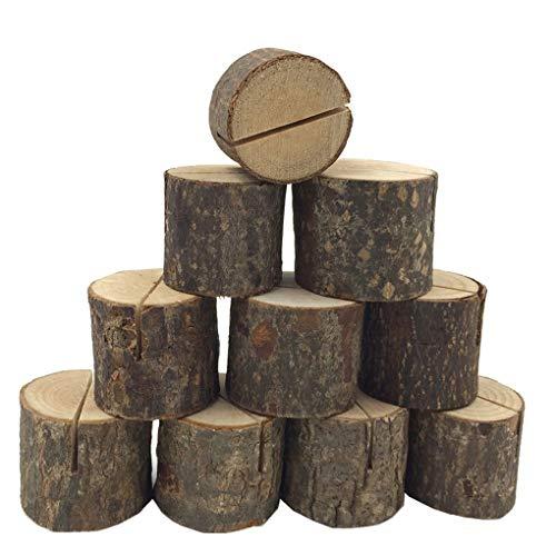 Timlatte 10pcs Stumpf Holz-Entwurfs-Visitenkarten-Halter Hochzeit Namen-Platz-Kartenständer Büro-Schreibtisch-Menü Foto Clips