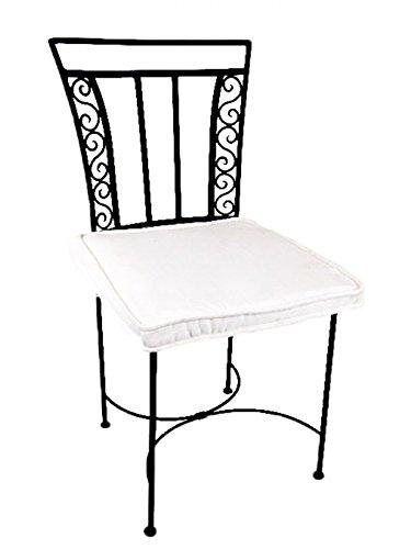 Original Orientalischer Stuhl Gartenstuhl Aus Metall Schwarz Ronda |  Marokkanischer Balkonstuhl Inkl. Sitzkissen Stuhlkissen |