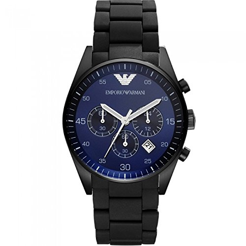 Men's Emporio Armani AR5921 Black Silicon Stainless Steel Quartz Watch