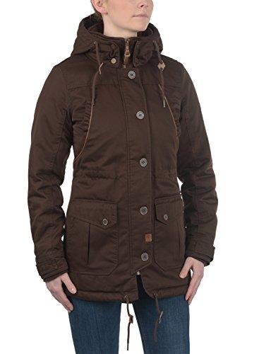 DESIRES Annabelle Damen Übergangsparka Parka Übergangsjacke Lange Jacke mit Kapuze, Größe:XS, Farbe:Coffee Bean (5973) - 2