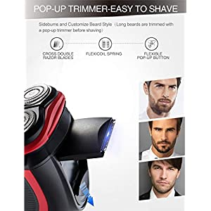 DynaBliss Electric Shavers Razor for Men,3D Rechargeable Electric Shaver Wet and Dry Men's Shaving with Pop-up Trimmer-IPX7 Waterproof