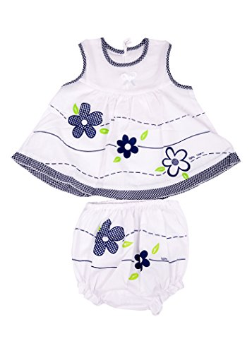 Baby Joy New Just Born Girl Zabla/Jabla Cotton frock Dress with bottom Nappy,white & Blue Dress,( 3-6 Months)