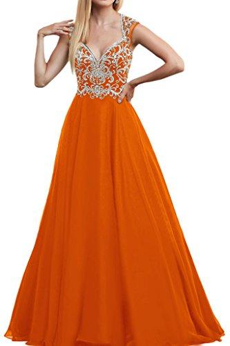 La_mia Braut Luxurioes Steine Kurzarm Abendkleider Partykleider Promkleider Lang A-linie Bodenlang Prinzess Formalekleider Orange